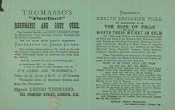 Advert for Thomasso's Perfect Cure, medicine, reverse side